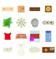 furniture plan icons set cartoon style vector image