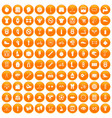 100 kettlebell icons set orange vector image vector image