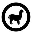 alpaca black icon in circle vector image