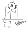 angry manager or office worker using mobile phone vector image vector image