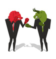 Bear and bull are boxing Traders fight Businessmen vector image vector image