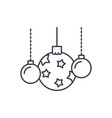 beautiful christmas balls line icon concept vector image vector image