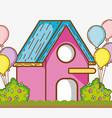 beautiful garden cartoon vector image vector image