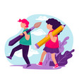 boy and girl carrying bush and pencil school vector image