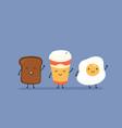 breakfast say hello cute kawaii fried egg bread vector image vector image