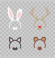 cartoon cute headband with ears holiday set vector image vector image