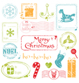 christmas grunge stamps vector image vector image