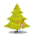 christmas tree and sitting boy vector image