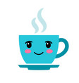 cute cartoon blue coffee cup with eyes vector image