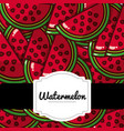 delicious watermelon fresh fruit label pattern vector image vector image
