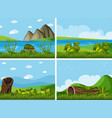 four background scenes with rivers and field vector image vector image