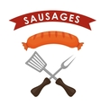 Fresh and delicious sausages bbq designs vector image vector image