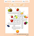 fruits cross word concept vector image