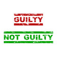 guilty and not guilty rubber stamp vector image vector image