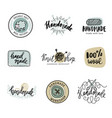 handmade line vintage logo set handmade retro vector image