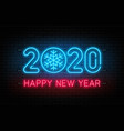 happy new year 2020 neon sign glowing text 2020 vector image vector image
