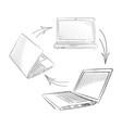 laptop set computers connection concept social vector image vector image