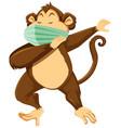 monkey cartoon character wearing mask vector image vector image