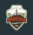 mountains explorer emblem sticker label vector image vector image