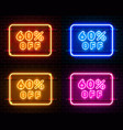 neon 6 off text banner color set night sign vector image vector image