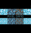 pixel camo seamless pattern big set urban blue vector image