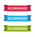 recommended ribbon banner icon flat cartoon vector image