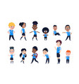 school kids cartoon happy children in uniform vector image vector image