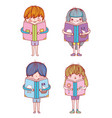 set boys and girls with books education vector image