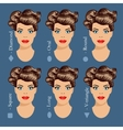 set different woman face shapes 1 vector image vector image