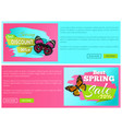 spring discount sale 30 70 off emblems set on vector image vector image