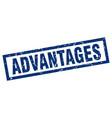 square grunge blue advantages stamp vector image vector image