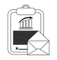statistics graph clipboard and envelope black and vector image