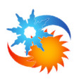 sun and snowflake abstraction symbol vector image vector image