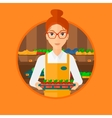 Supermarket worker with box full of apples vector image vector image