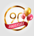 template gold logo 90 years anniversary with vector image vector image
