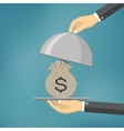 The businessman offering money on the serve plate vector image
