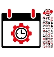 Time Gear Calendar Day Flat Icon With Bonus vector image vector image