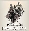 wedding invitation with beautiful couple bridal vector image