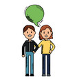 young couple with speech bubbles avatars vector image