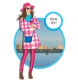 young women in a hat casual clothes on city vector image vector image