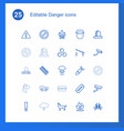 25 danger icons vector image vector image