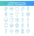 25 green and blue futuro digital technology icon vector image