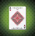 Ace of diamonds poker cards green background vector image vector image