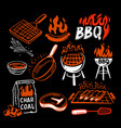 bbq stickers and emblems grills and meat vector image vector image
