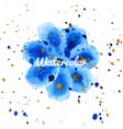 blue flower splash watercolor hand drawn vector image vector image