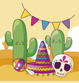 cactus with mexican hat and set icons kawaii vector image