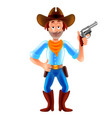 cartoon cowboy wild west man isolated vector image