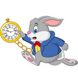 cartoon rabbit holding watch vector image vector image