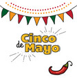 cinco de mayo logo hand drawn lettering and chili vector image vector image