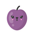 cute smiling plum isolated colorful fruit vector image vector image